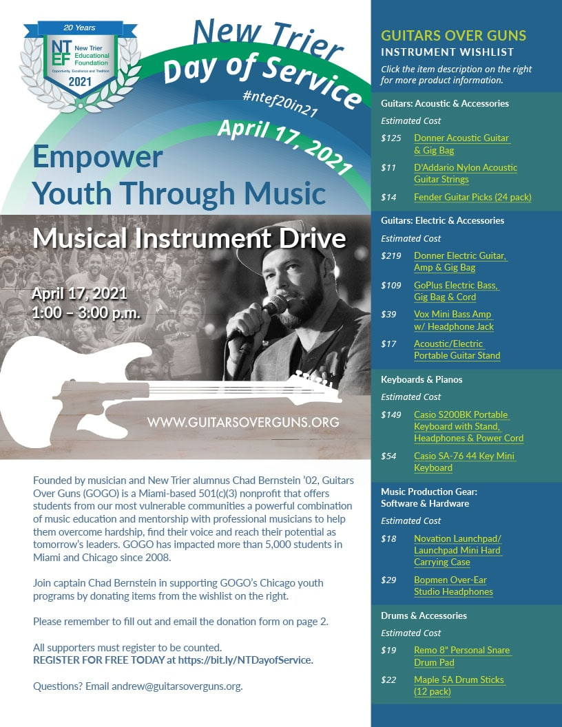Join captain Chad Bernstein '02 in supporting GOGO's Chicago youth programs by donating musical instruments and equipment.