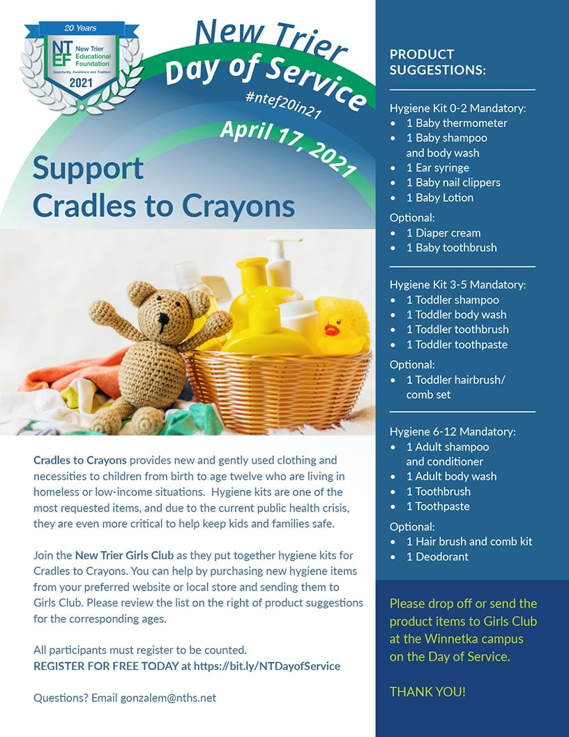 Join the New Trier Girls Club as they put together hygiene kits for Cradles to Crayons.