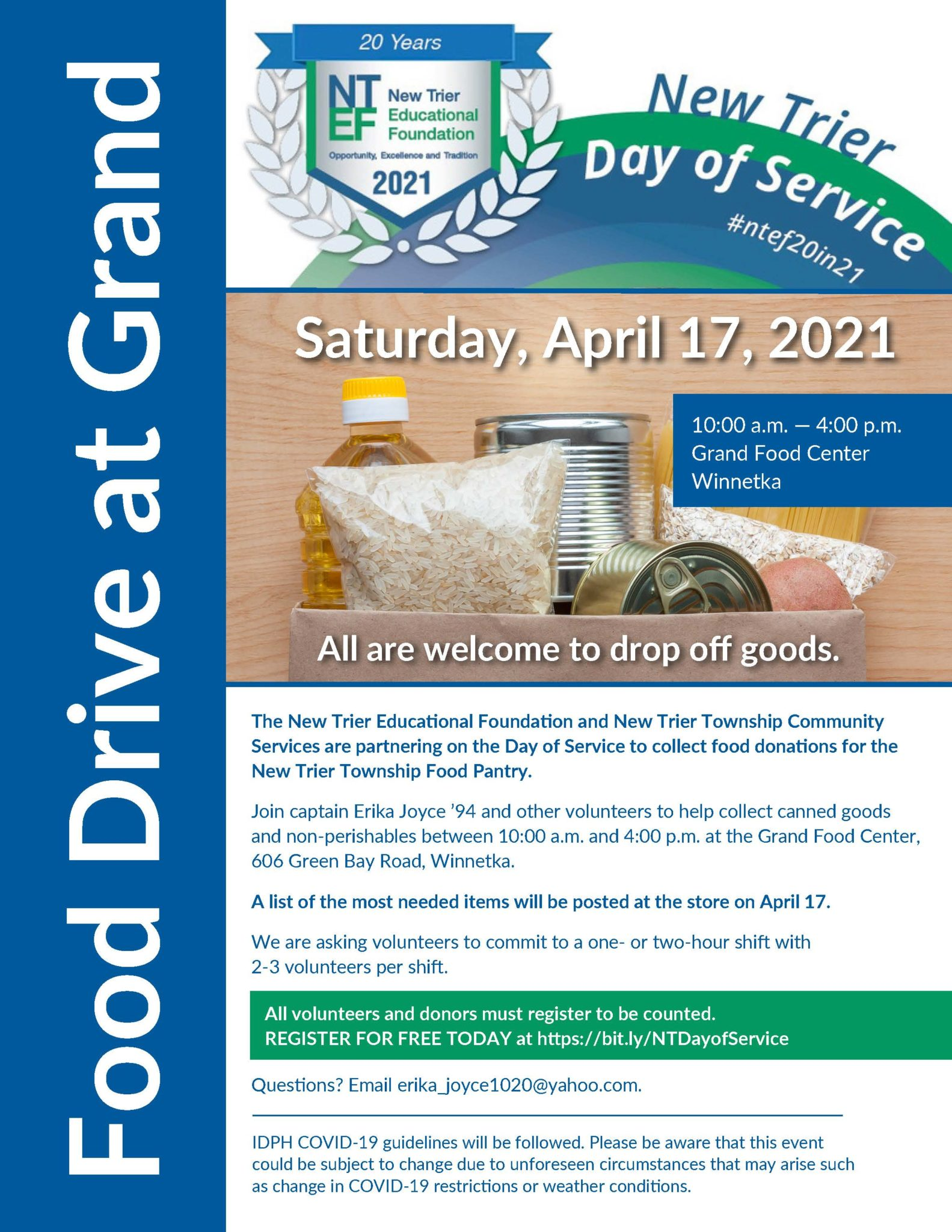 Join Captain Erika Joyce '94 Foundation Director and support the New Trier Township Food Pantry at the Grand Food Center in Winnetka, IL.