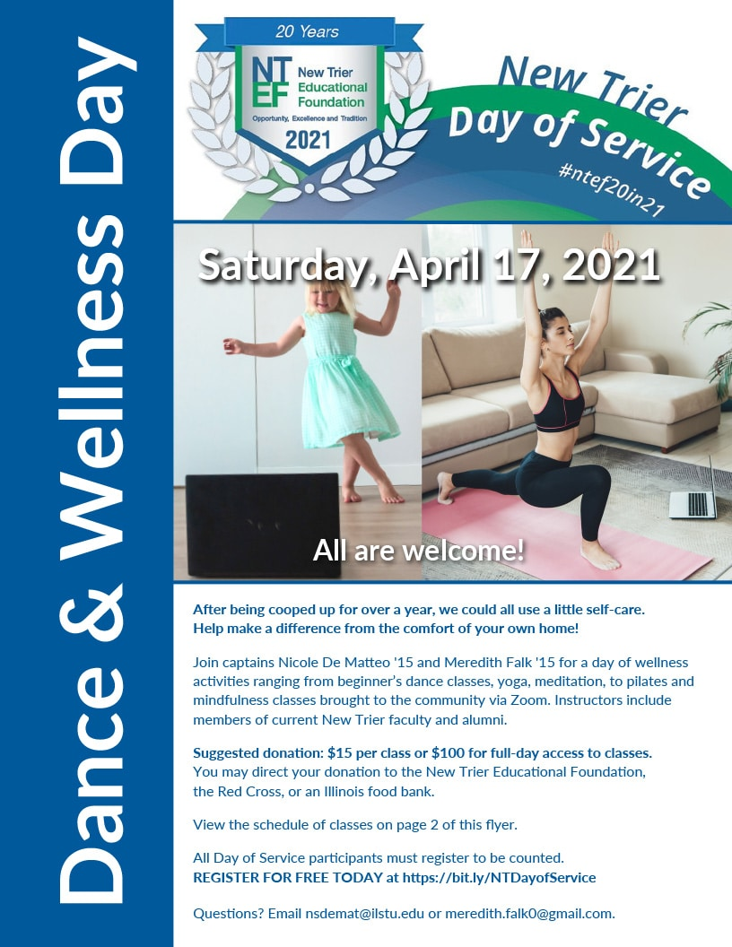 Join Captains Nicole De Matteo '15 and Meredith Falk '15 for a day of wellness so you can give back from the comfort of your own home. Click to see the full schedule.