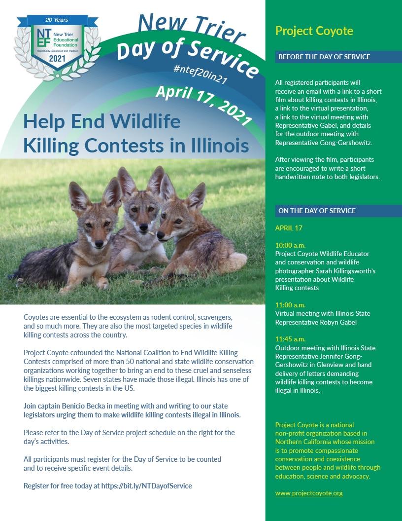 Join Captain Benicio Becka in urging our state legislators to make wildlife killing contests illegal in Illinois.