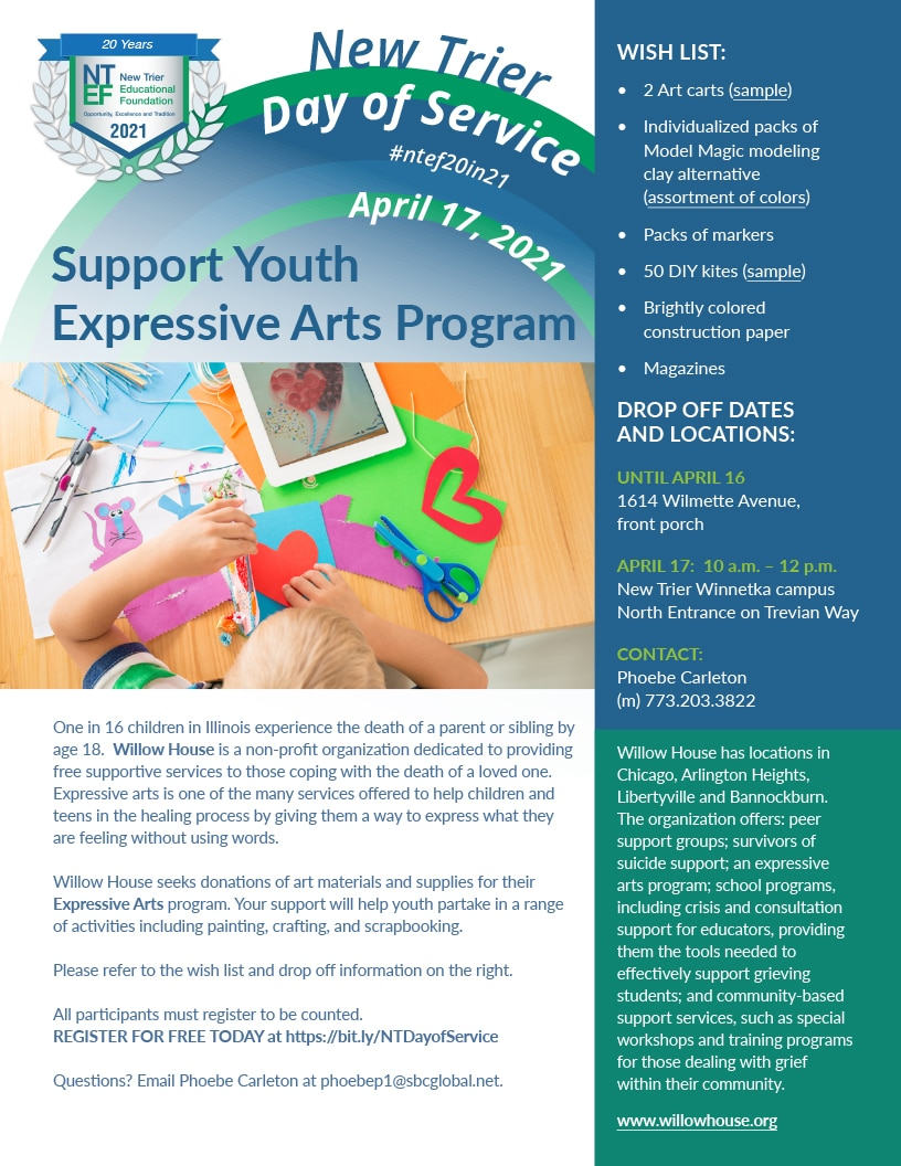 Join Captain Phoebe Carleton in providing art materials to Willow House for their Expressive Arts program helping children and teens coping with the death of a loved one.